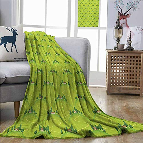 (Homrkey Plush Throw Blanket Rural Italian Country House Hills Village Panorama on Mountains Meadow Tuscany Landscape Lightweight All-Season Blanket W60 xL80)