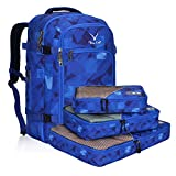 Hynes Eagle Travel Backpack 40L Flight Approved Carry on Backpack, Blue Figure with 3PCS Packing Cubes