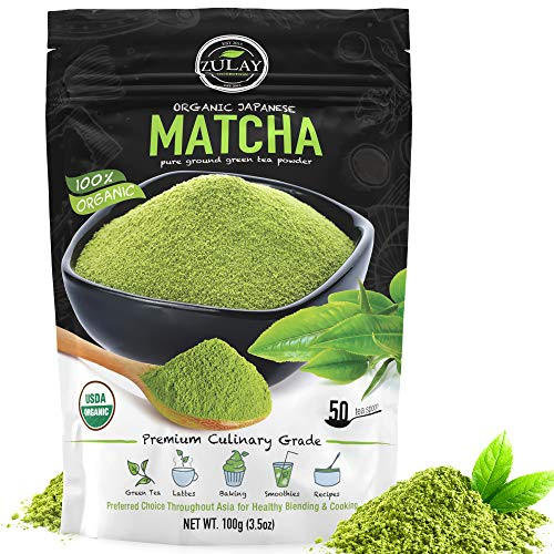Zulay Organic Matcha Green Tea Powder - USDA Certified, Authentic Japanese Culinary Grade Matcha Tea Powder - Perfect for Lattes, Smoothies & Baking - Vegan, GMO Free Matcha Powder (100g Value Size)