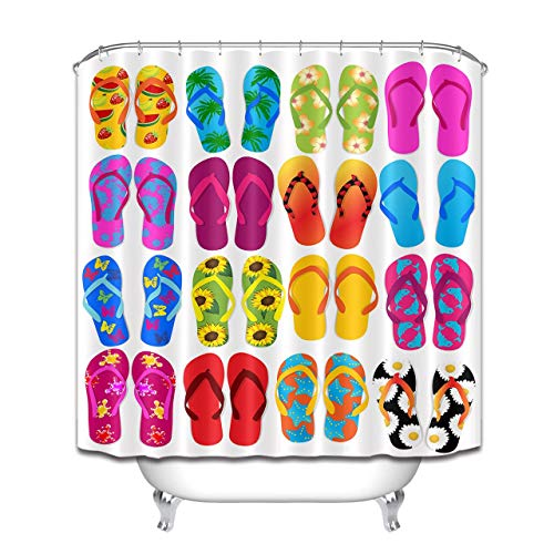 Abaysto Colorful Flip Flops Pattern Summer Themed Printed Home Decor Shower Curtain Sets with Hooks Polyester Fabric Great Gift ()
