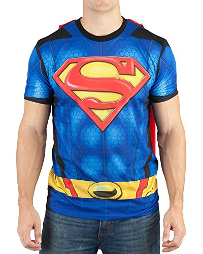 Bioworld Superman Men's Sublimated T-Shirt with Cape, Blue, -