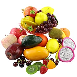 CEWOR 39pcs Artificial Fruits Lifelike Fake Fruits Various Simulation Fruits Apple Banana Cherries Mango Grape for Home Decoration 82