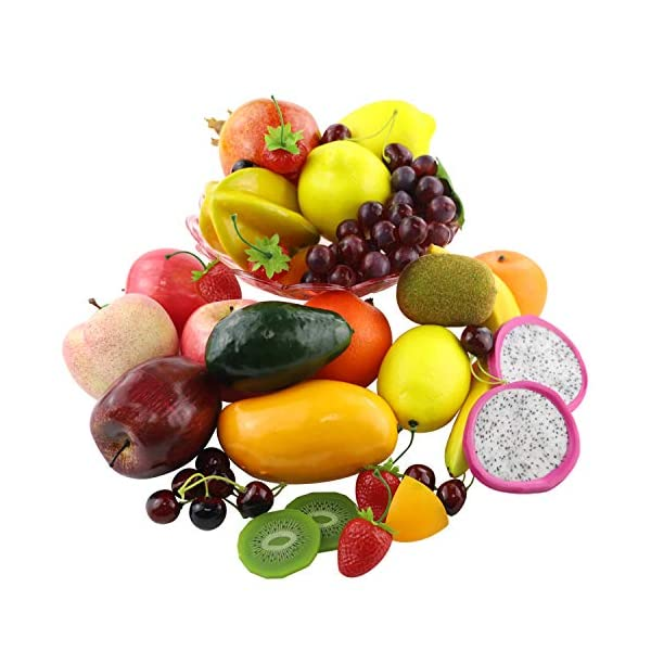 CEWOR-39pcs-Artificial-Fruits-Lifelike-Fake-Fruits-Various-Simulation-Fruits-Apple-Banana-Cherries-Mango-Grape-for-Home-Decoration