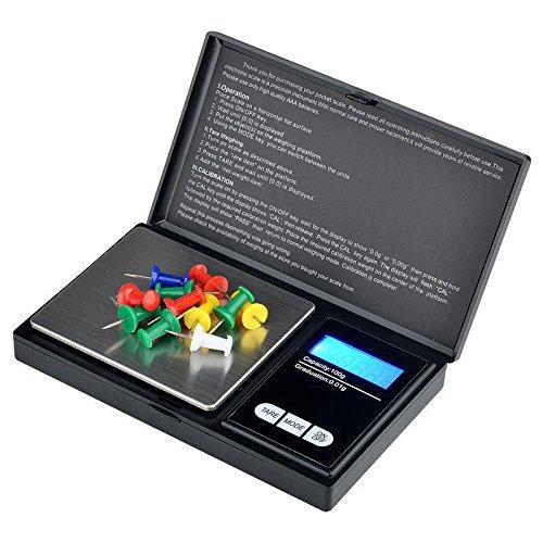 Tech Traders® , bilancia digitale tascabile Elite, portatile, con display LCD retroilluminato, da 200 g a 0,01 g, mini bilancia dal peso di 200 g TTDS
