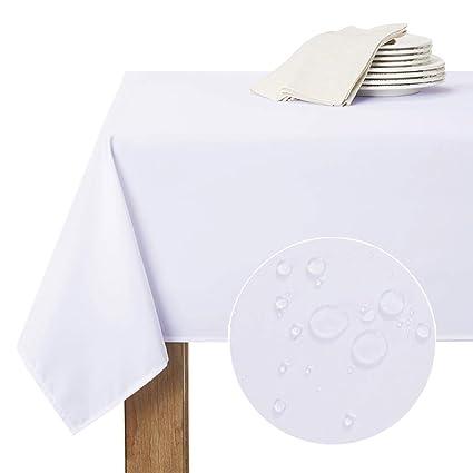 RYB HOME Nappes de Table Rectangle - 150 x 213 cm, Blanc Nappe Facile à  Nettoyer Tissu Etanche Anti-Tâche pour Cuisine/Salon/Jardin Couverture ...