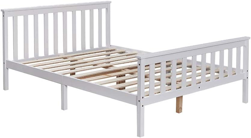 White or Oak Top 4FT6 Double Bed Solid Pine Wooden Bed Frame Bedroom Furniture