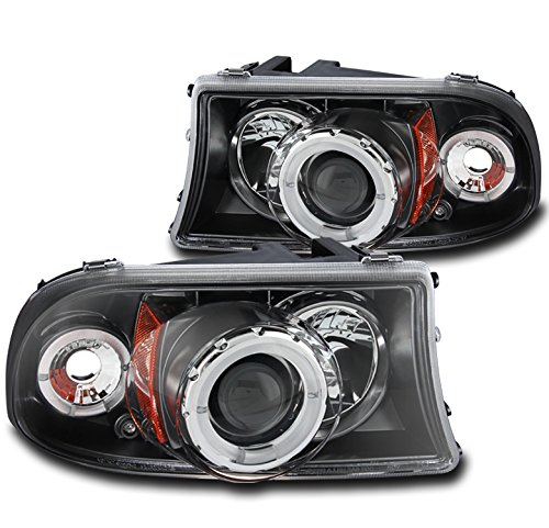 ZMAUTOPARTS DodgeDakota/ Durango Front Halo LED Projector Headlights Lamps Black -