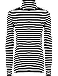 Zara Fashion -Women's Polo Cowl Neck Striped Monochrome Print Stretch Top