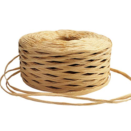 JIALU 328 Yards Raffia Paper Craft Ribbon Packing Paper Twine for Festival Gifts, DIY Decoration and Weaving