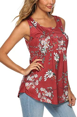 FZ FANTASTIC ZONE Women's Summer Sleeveless Button Up Casual Loose Tank Tops Tunic Shirts Blouses 4