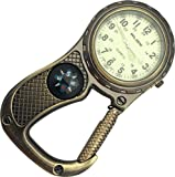 Glow in the Dark Belt Fob Watch with compass - Antique Brass
