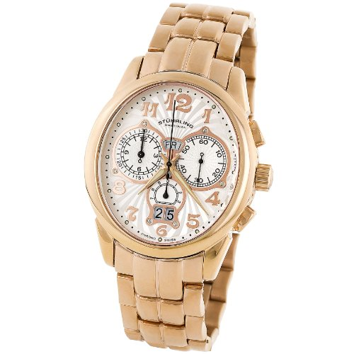 Stuhrling 63d2 334134 Aviator Pro Swiss Chrono White Dial Bracelet Mens Watch