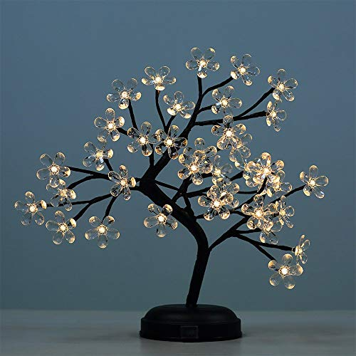 (LIGHTSHARE 18-inch Crystal Flower LED Bonsai Tree, Warm White,Desk Table Decor 36 LED Lights, Battery Powered or DC Adapter(Included), Built-in Timer)
