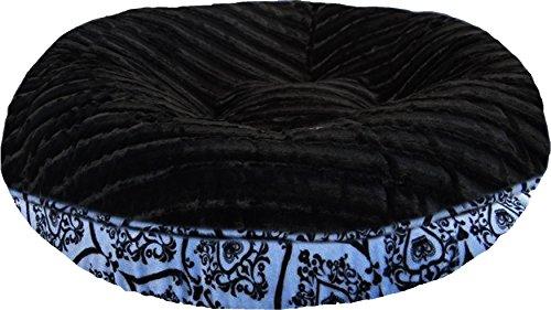 BESSIE AND BARNIE 36-Inch Bagel Bed for Pets, Medium, Black Puma/Versailles Blue by BESSIE AND BARNIE