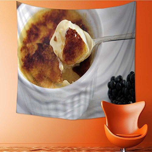 AuraiseHome Wall Tapestry Home Decor Creme Brulee Tapestries for dorms70W x 70L Inch Creme Brulee Wall Decor