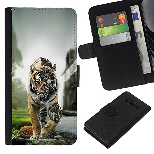 Price comparison product image GIFT CHOICE / SmartPhone Cell Phone Leather Wallet Case Protective Cover for Samsung Galaxy A3 / / Steampunk Tiger /