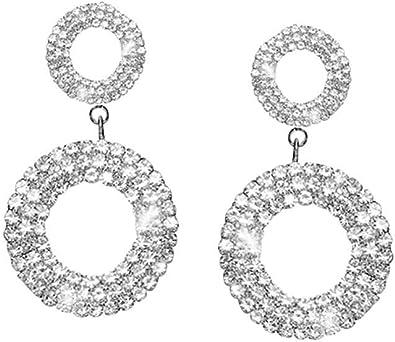 Femmes Filles Cristal Faux Diamant Boucles d/'Oreilles Fête Mariage Mode Bijoux
