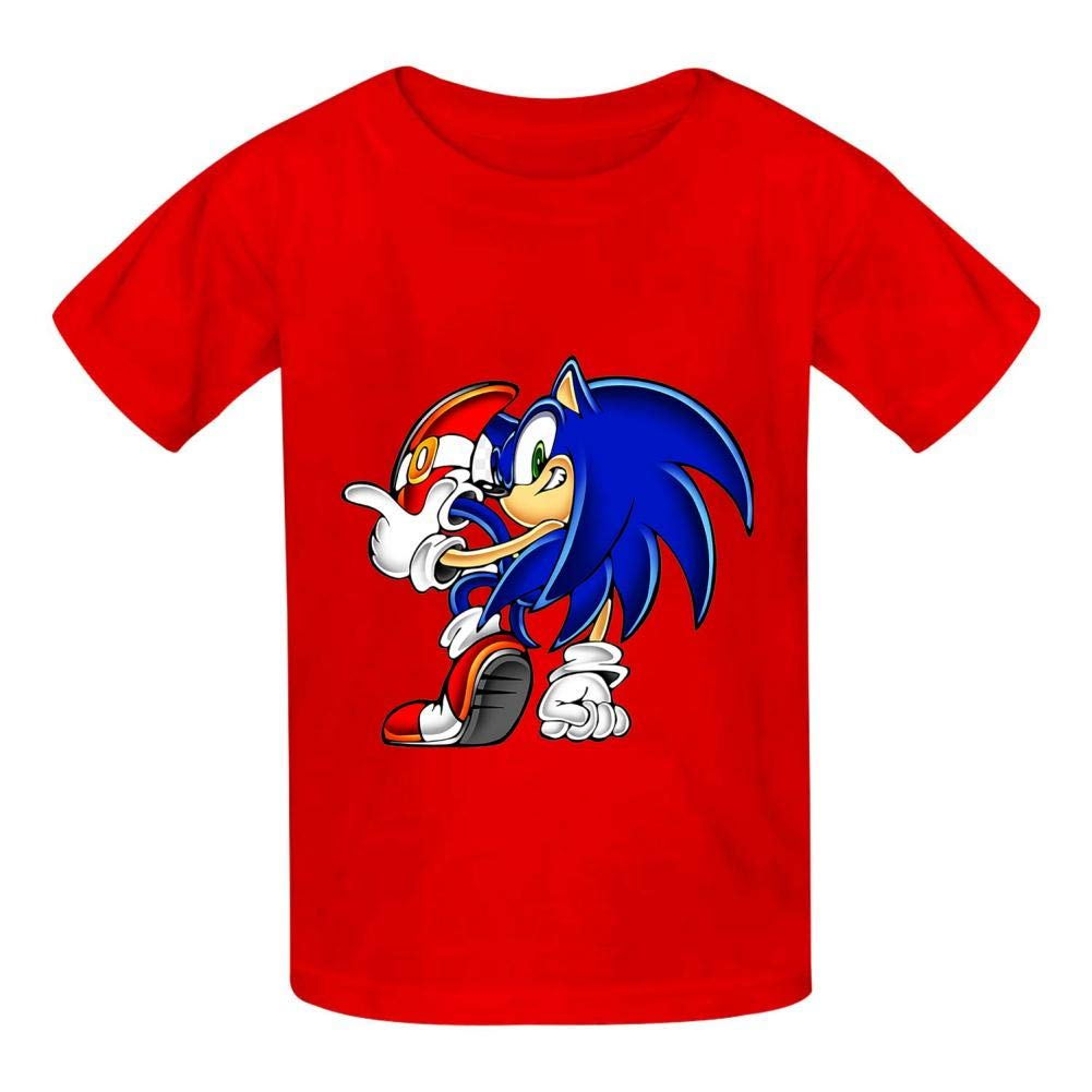 So-nic Hed-gehog T Shirt Boys and Girls Casual Round Neck Short Sleeve T-Shirts Cotton