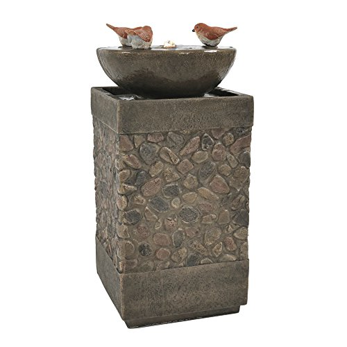 ing Birds Outdoor Water Fountain with LED Light, 25 Inch Tall (Water Fountain Pebbles)