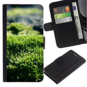 KingStore / Leather Etui en cuir / Sony Xperia Z1 Compact D5503 / Green Nature