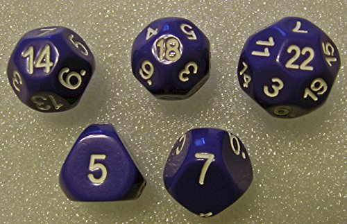 Purple - Set of 5 Unusual Dice: d5, d7, d14, d18, and d22 (22 Sided Dice)