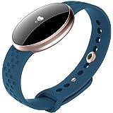 Womens Fitness Tracker Guarda Smart watch con cardiofrequenzimetro chiamata / SMS promemoria Pedometro passo calorie e distanza