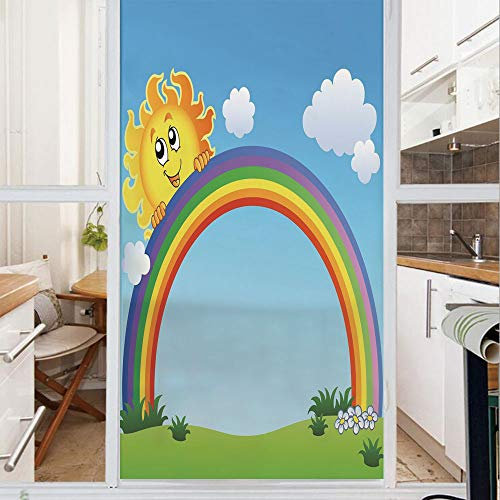 Decorative Window Film,No Glue Frosted Privacy Film,Stained Glass Door Film,Fun Sun Holding Rainbow on Green Hill with Clear Sky Child Friendly Image Decorative,for Home & Office,23.6In. by 47.2In Sky