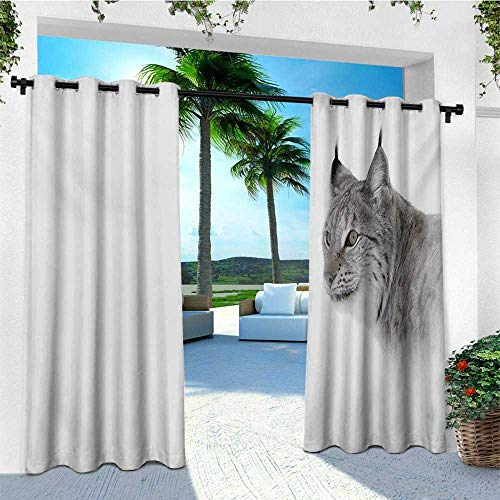leinuoyi Hunting, Outdoor Curtain Ends, Lynx in The Central Norway Wild Cat North Cold Snowy Mountain Carnivore Predator, for Patio Waterproof W96 x L108 Inch Grey White (Best In North Dallas Patios)