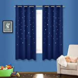 Kids Curtains NICETOWN Space Inspired Night Sky Twinkle Star Kid's Room Curtain, Creative Blackout Window Curtain for Bedroom (1 Panel, 52 x 63 inch Panel, Navy Blue)