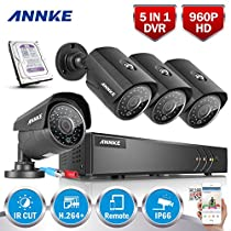 ANNKE 1.30 Megapixels Security Cameras System Smart HD 1080P Lite 8+2 Channels DVR Recorder 2TB Surveillance HDD and (4) 960P HD Outdoor CCTV Camera, Email Alert with Images, Mobile App: ANNKE View