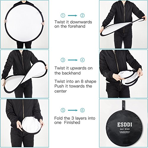 ESDDI 32inch Reflector 5 in 1 Portable Light Reflector Photography with Bag, Silver, Gold, White, Translucent and Black for Studio or Any Photography Situation