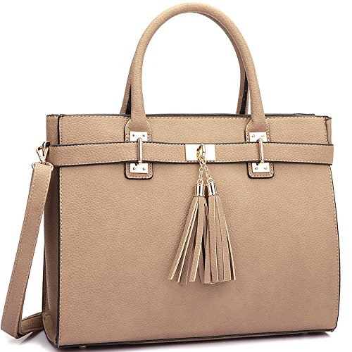 dasein-designer-buffalo-faux-leather-fringe-tassel-satchel-handbag-purse-briefcase-with-shoulder-str