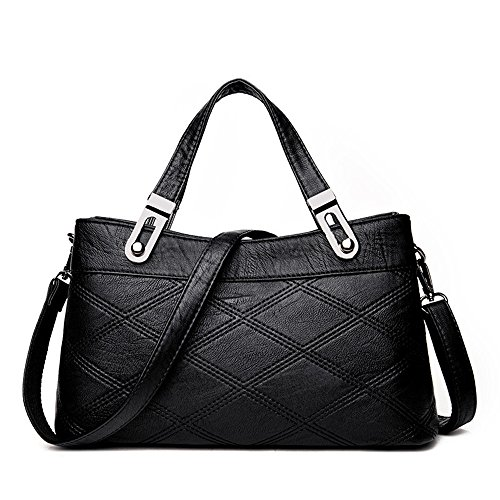 GWQGZ Nuevo Elegante Bolso De Damas De Temperamento Personalidad Simple Diamond Single Shoulder Satchel Blanco Black