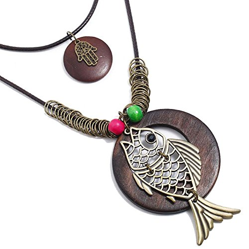 Vintage copper hollow fish necklace ladies long section of multi-layer sweater chain necklace -
