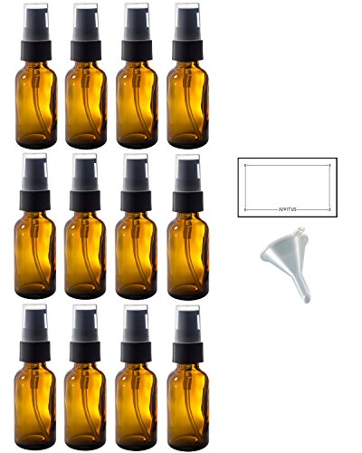 1 oz Amber Glass Boston Round Treatment Pump Bottle (12 pack) + Funnel and Labels for essential oils, aromatherapy, food grade, bpa free