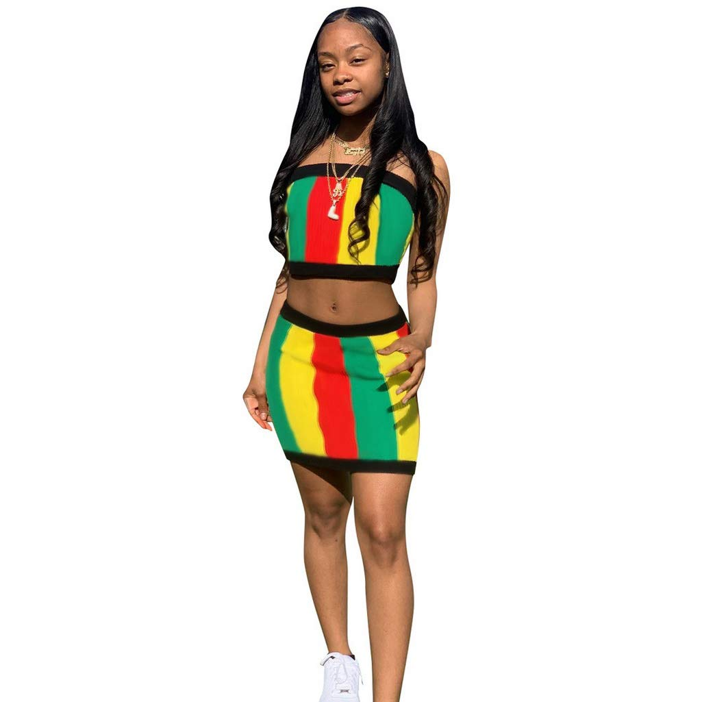 Fafalisa Women Summer Striped Colorful Strapless Crop top Above Knee Mini midi Skirt Suit Two Piece Set Tracksuit(Multi,L)