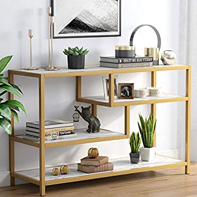 Tribesigns Sofa Entry Table, 3-Tier Gold Console Table with Faux Marble Veneer for Living Room Entryway - [Console Table with Style]: Constructed of gold metal frame and finished in faux marble veneer, three tier shelves, the sleek glam look creates the Nordic style fitting well with your personal taste and interior décor, without sacrificing functionality and practicality at meanwhile [Versatile Hall Console Table]: Whether used as TV console stand table in the living room, or as entryway console table in the foyer, a coffee table in the house or serving stand in the kitchen, the table can perfect to hold everyday belongings and cut the clutter in your home. [Spacious Storage Space]: 3-Tier and 3 open concepts design provides ample space to hold books, magazines and other decorative items within your reach, keeps your treasures organized and easily accessible. - living-room-furniture, living-room, console-tables - 51rAkES9fXL. SS400  -