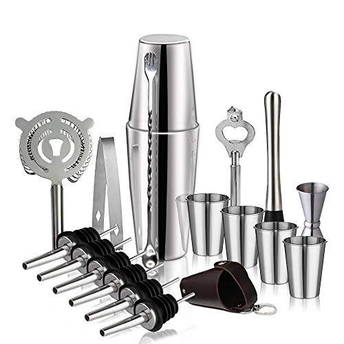Steel Spoon Stainless Boston (19-Piece Cocktail Shaker Bar Set: 28oz&18oz Stainless Steel Boston Shaker, Muddler,Double Jigger, Stirring Spoon, Ice Tongs, Bottle Opener, Strainer, Short Glass Set and Liquor Pourers)