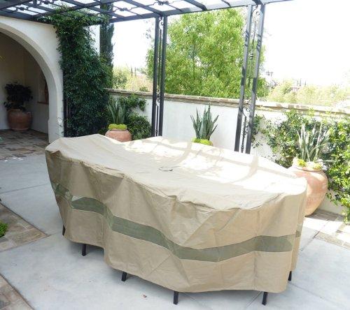 Teak Rectangular Dining Table Set (Premium Tight Weave Patio Set Cover 110