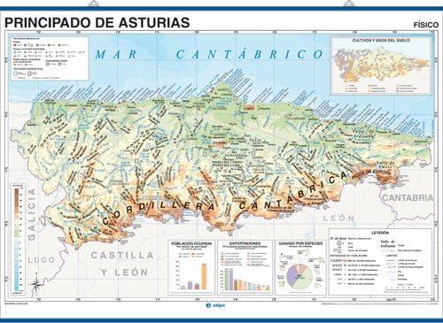 Mapa Politico De Asturias.Mapa Mural Principado De Asturias Impreso A Doble Cara