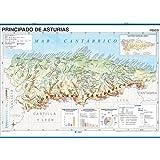 Mapa mural Principado de Asturias impreso a doble cara Físico/Político envarillado, con colgadores y tubo 140 x 100 cm