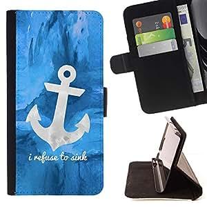 Momo Phone Case / Flip Funda de Cuero Case Cover - Barco azul ancla marinero Barco - LG G4c Curve H522Y (G4 MINI), NOT FOR LG G4