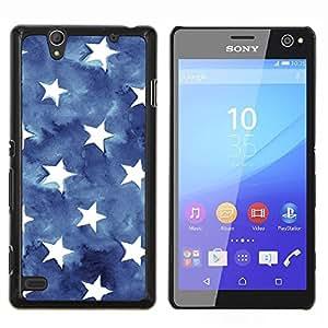 Stripes USA azul de la bandera americana- Metal de aluminio y de plástico duro Caja del teléfono - Negro - Sony Xperia C4 E5303 E5306 E5353