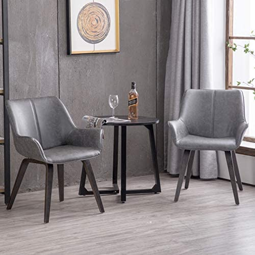 Homy Grigio Modern Leatherette Dining Room Accent Arm Chairs Club Guest