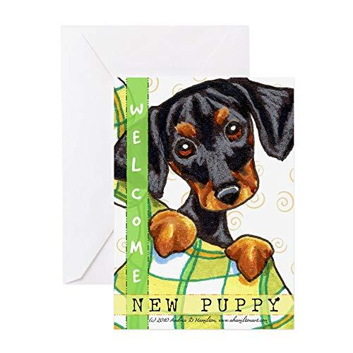 CafePress Dachshund New Puppy Congratulations Greeting Card, Note Card, Birthday Card, Blank Inside Matte