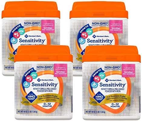 Bulkidoki Member's Mark HMO Non-GMO Infant Formula, Sensitivity 48-Ounce (Pack of 4)