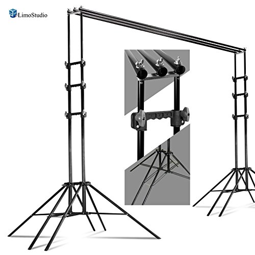 LimoStudio 10 x 8ft Photography Reinforced Backdrop Support System with Carry Case, 6 Legs Support Stands, Max 10ft. Cross Bar, Stable Photo Studio Background Sixpod Support System, AGG2670