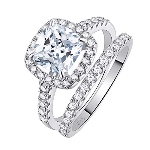 SHELOVES Women's Sterling Silver Princess Cut CZ Bridal Engagement Wedding Band Set for Her Size 8