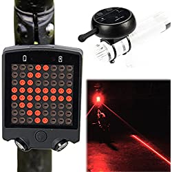 DRUnKQUEEn LED Lights for Bike Bicycle byWireless Remote Control Turn Signals Tail Rear Light with Laser Beams Safety Warning Line - Rechargeable, Waterproof, Easy Install