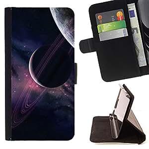 BullDog Case - FOR/Sony Xperia Z1 L39 / - / planets universe sky purple stars cosmos /- Monedero de cuero de la PU Llevar cubierta de la caja con el ID Credit Card Slots Flip funda de cuer